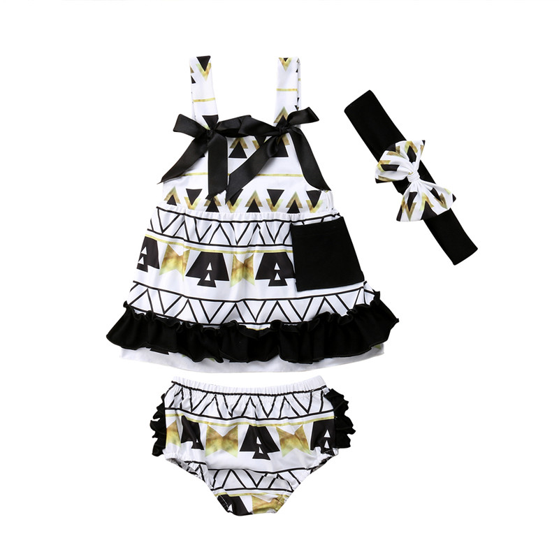 3Pcs Summer Clothes Set Toddler Kids Baby Girl Sleeveless Bow Tops+Bloomers Shorts Headband Outfits Summer Children Clothes 1-5Y