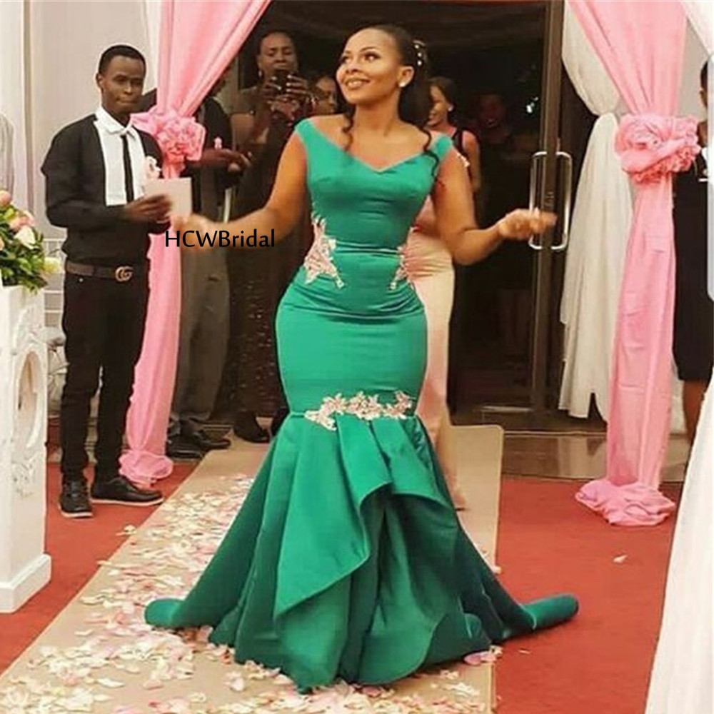 Custom Made Green Mermaid   Prom     Dresses   2019 New V Neck Floor Length Appliques Satin African Evening Party Gowns Robe De Soiree
