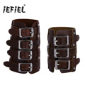 Coffee Unisex Punk Faux Leather Adjustable Buckles Gauntlet Wristband Wide Medieval Bracers Protective Arm Armor Cuff Costumes