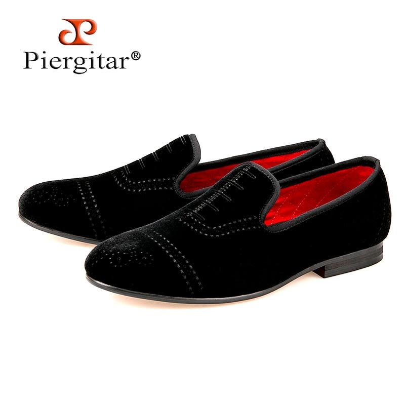 formato scarpe piatto di nuovo velluto USA 17 freeshipping Punch casual uomini mocassini Bullock moda stile Piergitar 4 nero Xc47wqBw