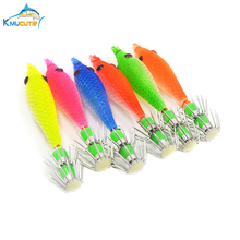 5pcs 7cm luminous squid hook 1.5# 6 colors soft jigs with octopus baits
