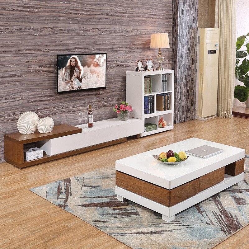Salon meubles de maison table basse minimaliste style moderne en bois mesas rectangle table basse de salon blanc sehpalar tablo - 3