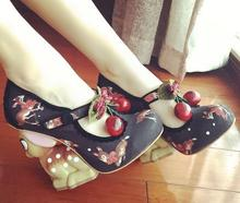 Carpaton 2017 Newest Fashion Mary Janes Women Print Deer Heel Sandals Woman Cherry Decoration Classics Party Shoes