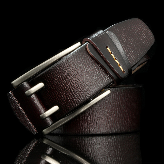 HREECOW สไตล์วินเทจ PIN หัวเข็มขัดหนังแท้เข็มขัดหนังผู้ชายคุณภาพสูงบุรุษเข็มขัด cinturones hombre
