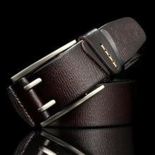 حزام جينز للرجال عالي الجودة من HREECOW بمشبك على شكل دبوس من جلد البقر الطبيعي للرجال