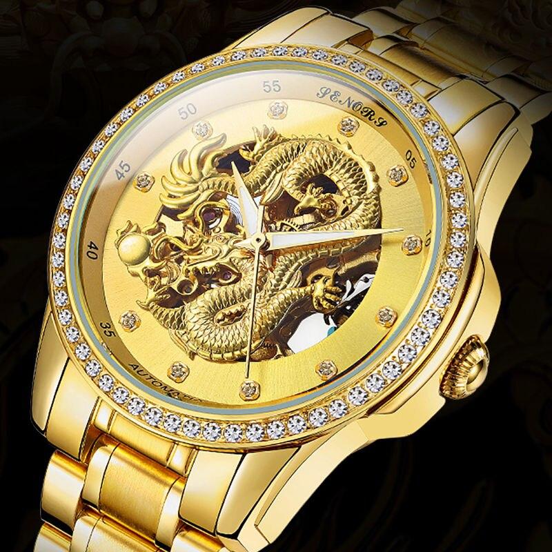 b7fabb79f72 SENORS Novo Dragão de Ouro de Luxo da marca Homens Relógio Corrente do Relógio  Mecânico Automático Relogio masculino Relógio de Pulso dos homens dos homens  ...