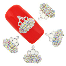 10 Pcs Lot Charms Gold Silver Manicure Tools Beauty Imperial Crown With  Glitter Rhinestones Nail 41079ffac51a