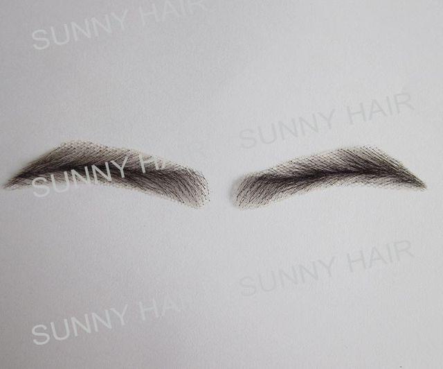 hand made human hair man false eyebrow 019A black color hand knot fake eyebrow 1
