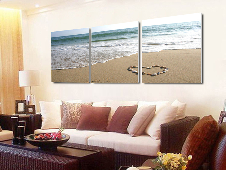 3 Piece Canvas Wall Art Sets Beach Painting Heart Stone Oil Paintings Bedroom Decorative Picture Seascape Sea Wave Artwork Large In Calligraphy