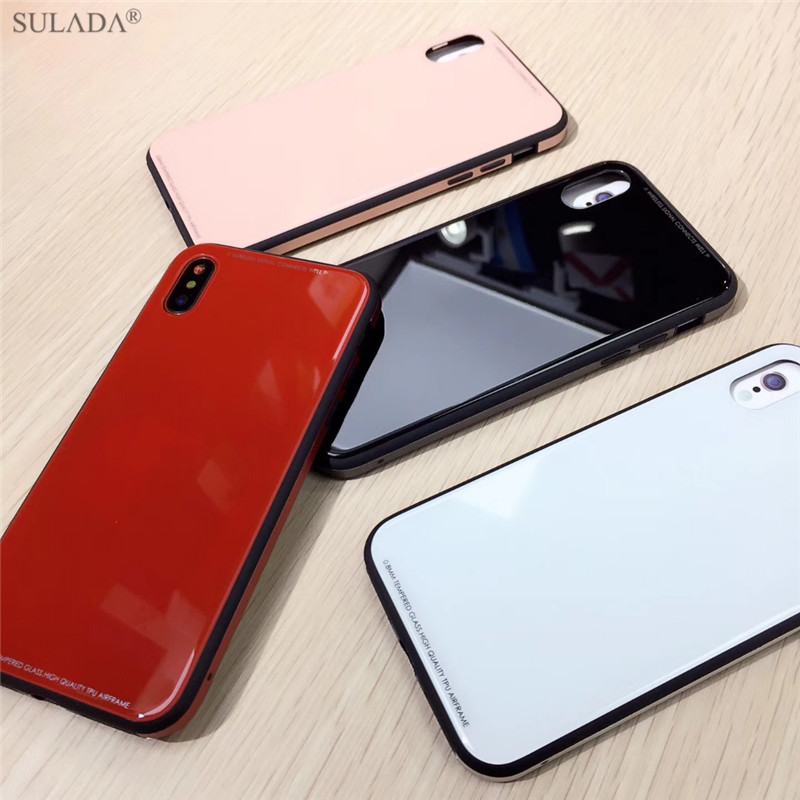 Luxury-Tempered-Glass-Case-for-iPhone-X-8-7-Plus-Shockproof-Hard-Silicone-Metal-Phone-Back