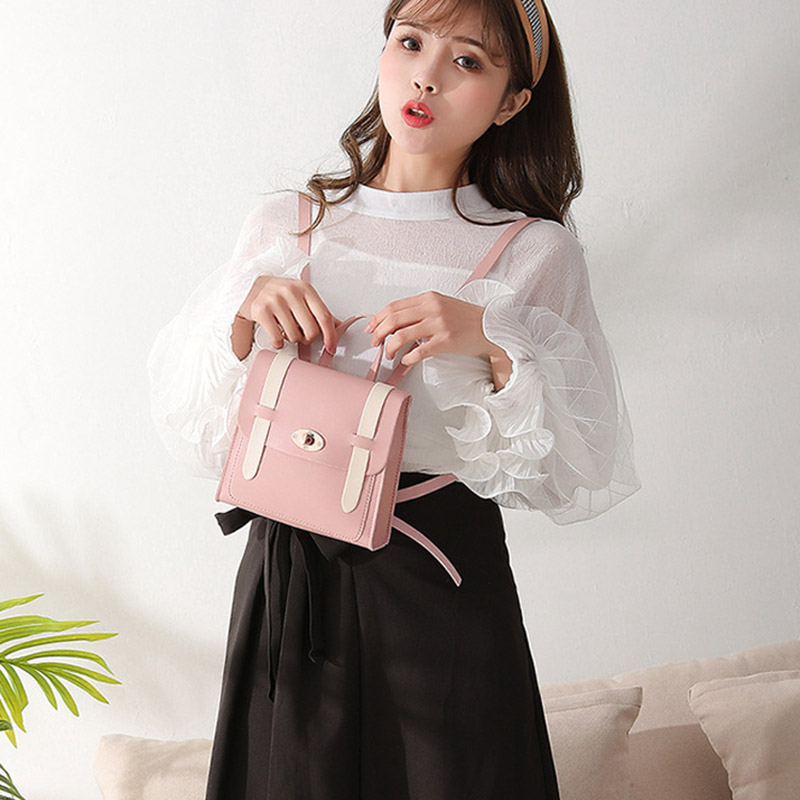 2019 New Fashion Women Contrast Color Mini Backpack Large Capacity Single Shoulder Bag for Travel WML992019 New Fashion Women Contrast Color Mini Backpack Large Capacity Single Shoulder Bag for Travel WML99