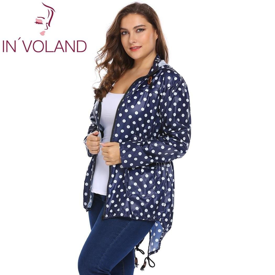 IN'VOLAND Women Hooded Hoodie Jacket Plus Size XL-5XL Spring Autumn Long Sleeve Dot Drawstring Sweatshirt Raincoat Coat Big Size 2