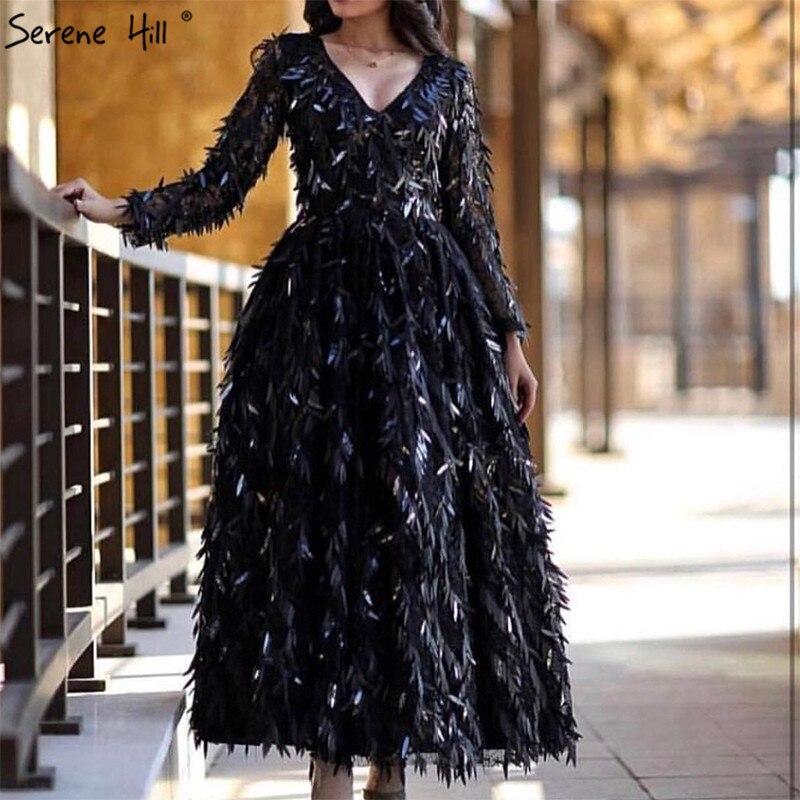 Black V-Neck Full Sequined Luxury Evening Dresses 2019 Dubai Ddesign Long Sleeve Sparkle Evening Gowns Serene Hill LA60834