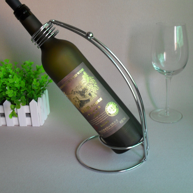 Special Offer Red Wine Rack Bottle Holder Stand Iron With Silver