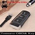 O Envio gratuito de cartão de Tamanho Original 3 botão do controle remoto chave 433 Mhz com chip ID48 para VW Magotan CC 3C0959752BA Tem Anel Chave Livre