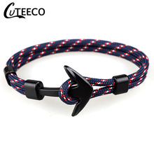 CUTEECO European Style Anchor Bracelets For Men Jewelry Charm Survival Rope Bracelet Paracord Male Wholesale