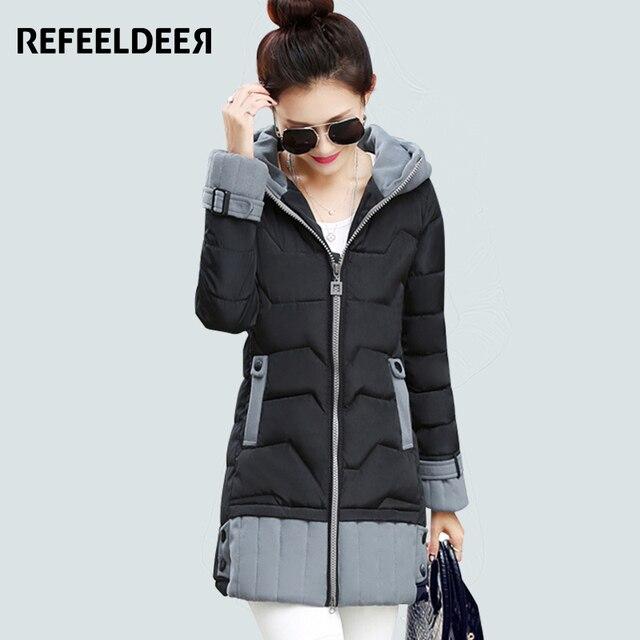 новейший пуховик зимний женский длинный теплый 2015 зима мода большие размеры Толстый парка женская зимняя куртка женщины с капюшоном вниз хлопка зимние куртки женские теплые пальто