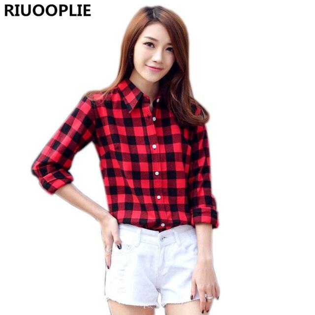 ab3aab5c2c RIUOOPLIE Menina Moda Casual Lapela Plus Size Blusas Mulheres Camisa Xadrez  de Flanela Cheques Camisas de