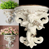 European Home Decoration Stickers Angel Three dimensional Wall Background Mural Craft Decoration Resin Wall holder Hanging Shelf