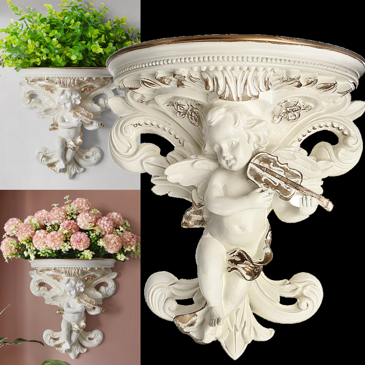 European Home Decoration Stickers Angel Three-dimensional Wall Background Mural Craft Decoration Resin Wall holder Hanging Shelf