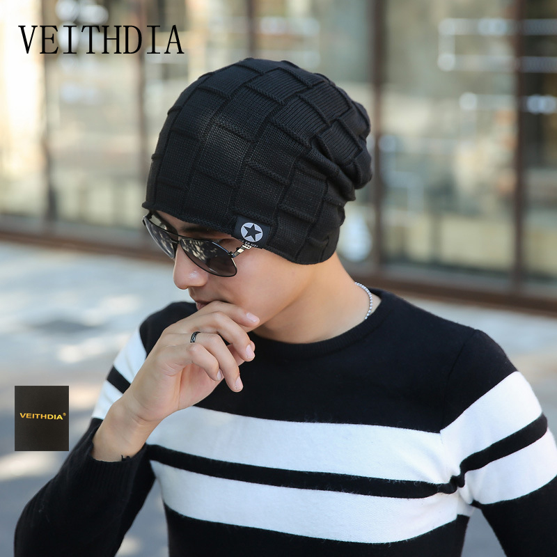 VEITHDIA New Arrival Winter Men's Knitted Hat Fashion Hats Knitted Hat Men Hedging Cap Bonnets Gorros De Punto Hombre 437 2017 winter women beanie skullies men hiphop hats knitted hat baggy crochet cap bonnets femme en laine homme gorros de lana