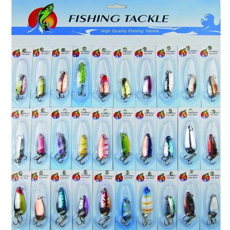30pcs/Set Assorted Metal Minnow Fishing Lures Hooks Spinner Hard Baits Crankbait Tackle Artificial Bait Lure Kit