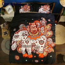 AHSNME Rainbow Elephant Comforter Cover Sets US King Queen Bedding Set Indian Tribal Bedlinen Custom Adults Child Bedspreads(China)