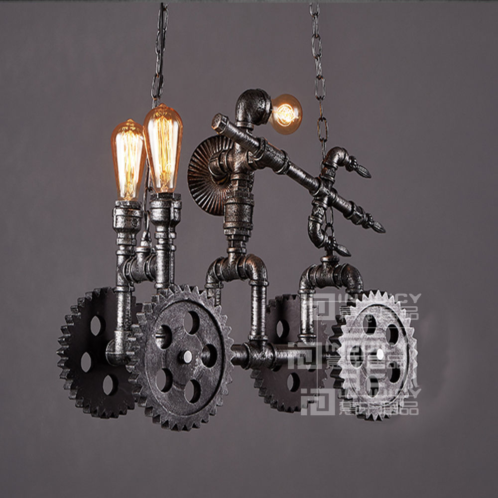 Vintage Led Industrial Bike Droplight Bedroom Dining Home Loft Pendant Lamp Store Pendant Light Fixtures Bar Cafe Lighting Decor loft vintage american stretch pendant light fixture cafe bar droplight aisle hall ceiling lamp bedroom dining balcony lighting