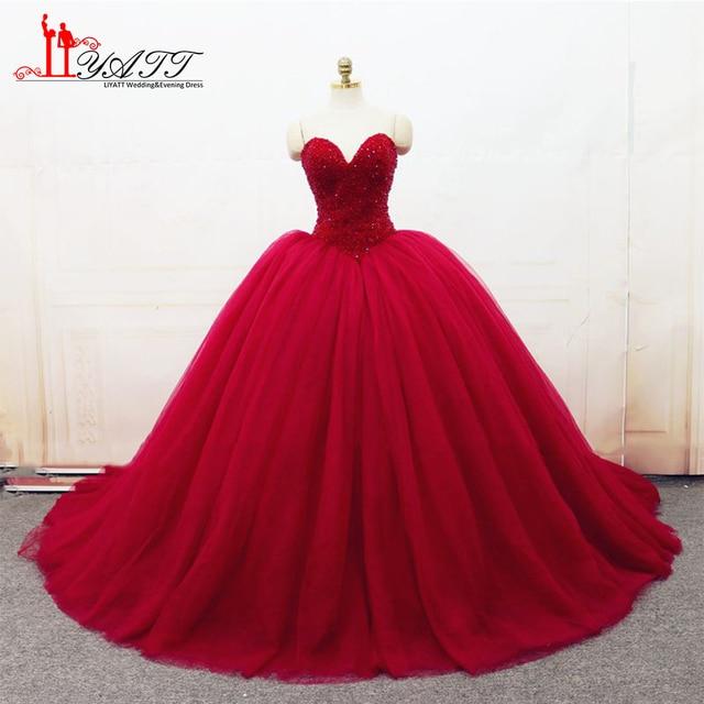 Liyatt 2018 New Luxury Ball Gown Evening Dresses Beaded Sweetheart Sweep  Train Tulle Long Prom Dress Custom Made 329f484df051