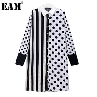 EAM 2018 Spring New Lapel Long Sleeve Black Side Striped Dot Printed Split Joint Loose