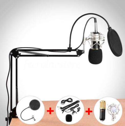 bm 800 Condenser Microphone for computer Cardioid Audio Studio Vocal Recording Mic KTV Karaoke + Microphone stand+pop filter professional bm 800 bm 800 condenser ktv microphone cardioid pro audio studio vocal recording mic ktv karaoke metal shock mount