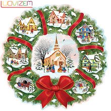"LUOVIZEM Full Square/Round Drill 5D DIY Diamond Painting ""Christmas houses"" 3D Embroidery Cross Stitch Mosaic Decor Gift L419(China)"
