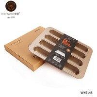 Chef Made Bread & Loaf Pans Mini Non stick Hot Dog Metal Baking Pan Produtos De Confeitaria Mold Golds Bakeware 8 Cup
