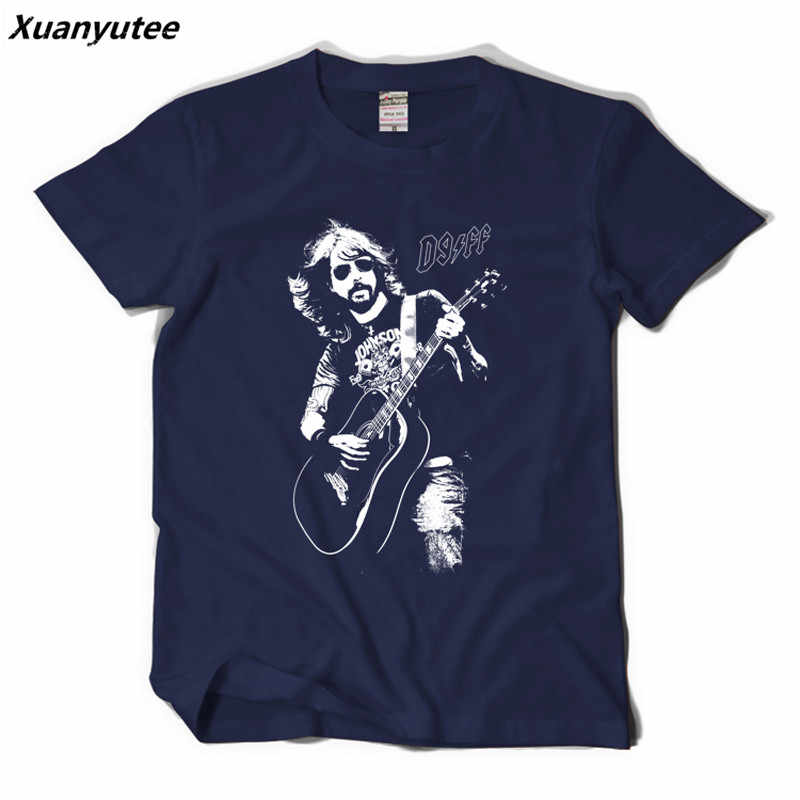Xuanyutee Foo Fighters T shirt Homme Cotton O-neck Short Sleeve Print Dave Grohl Fans Fashion 2XL T-shirt Men Black Hip Hop Tees