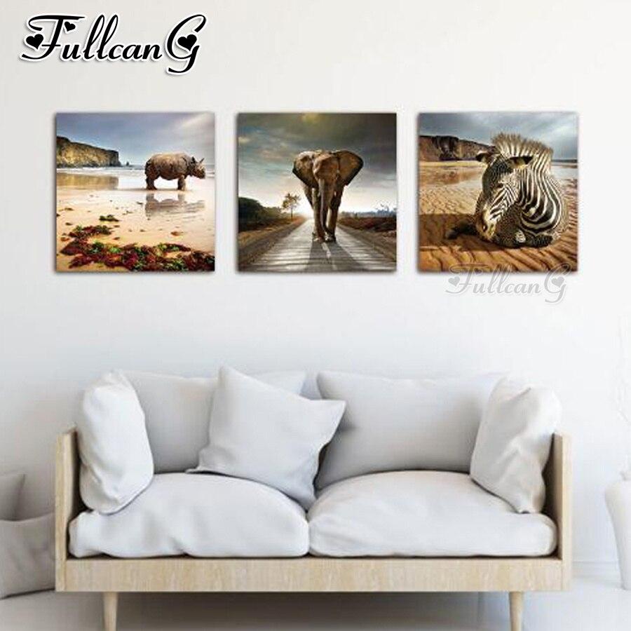 FULLCANG 3pcs/set diy diamond embroidery sale elephant animal triptych 5d mazayka painting full square/round drill FC923