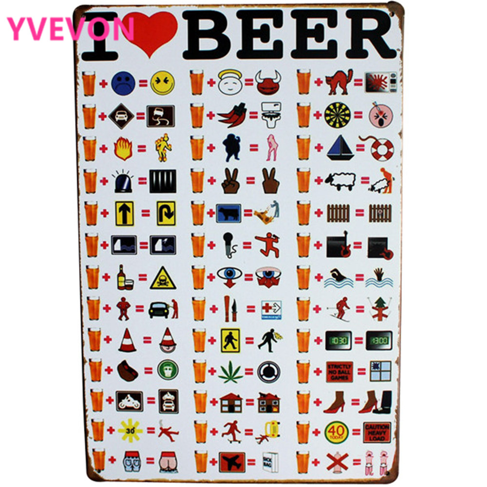 I LOVE BEER Vintage Metal Beer Zodie Retro Tin Ciuma pentru restaurant Meniu fotografie pe perete Art Display decor LJ4-11 20x30cm B1
