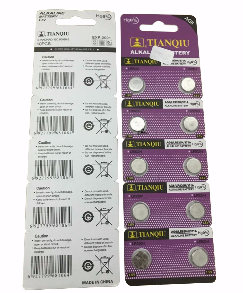 20pcs Big Promotion For watch Button <font><b>Battery</b></font> ag6 <font><b>371</b></font> d371 605 sr920sw sr69 alkaline cocell button <font><b>battery</b></font> for watch image