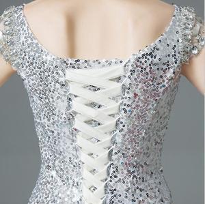 Image 5 - Cap sleeves rhinestone beading evening dresses long luxury Sequin Mermaid Long Evening Dress golden & silver mermaid formal gown