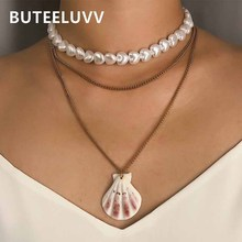 BUTEELUVV Beach Scallop Shell Pendant Necklace for Women Bohemian Imitation Pearl Heart Beaded Choker 3 Layered Chain Necklace heart shaped scallop shell necklace new romantic white beads necklace natural scallop pendant short necklace