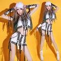 Hip hop traje de la danza Del Club bar danza ropa sexy DJ cantante trajes de baile de jazz