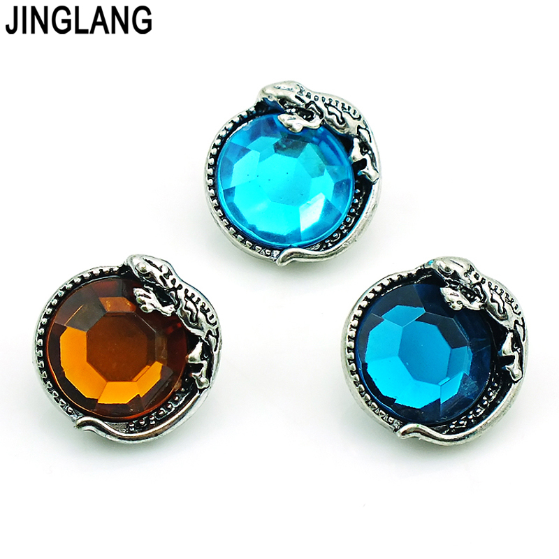 JINGLANG Fashion 18mm Ginger Snap Button 3 Color Plastic Crystal Gecko Alloy Clasp DIY Interchangeable Jewelry Accessories