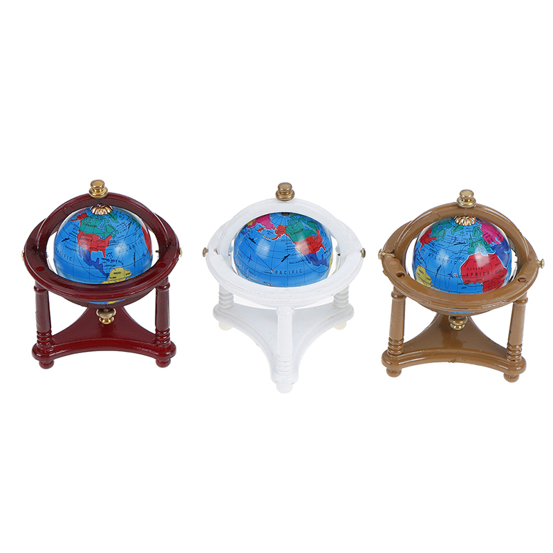 1:12 Miniature Rolling Globe With Wood Stand  Dollhouse Study Livingroom Bedroom Reading Room Furniture Toy Accessories