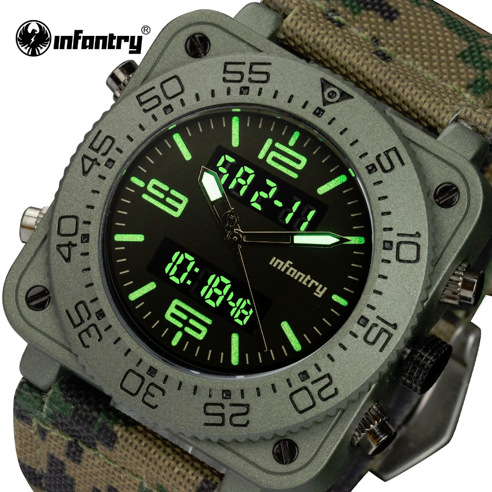 INFANTRY Men Luxury Quartz Watches Camo Dual Time Analog Digital Sports Watch Military Army Waterproof Chronograph Male Clocks weide men sports watches waterproof military quartz digital watch alarm stopwatch dual time zones wristwatch relogios masculinos