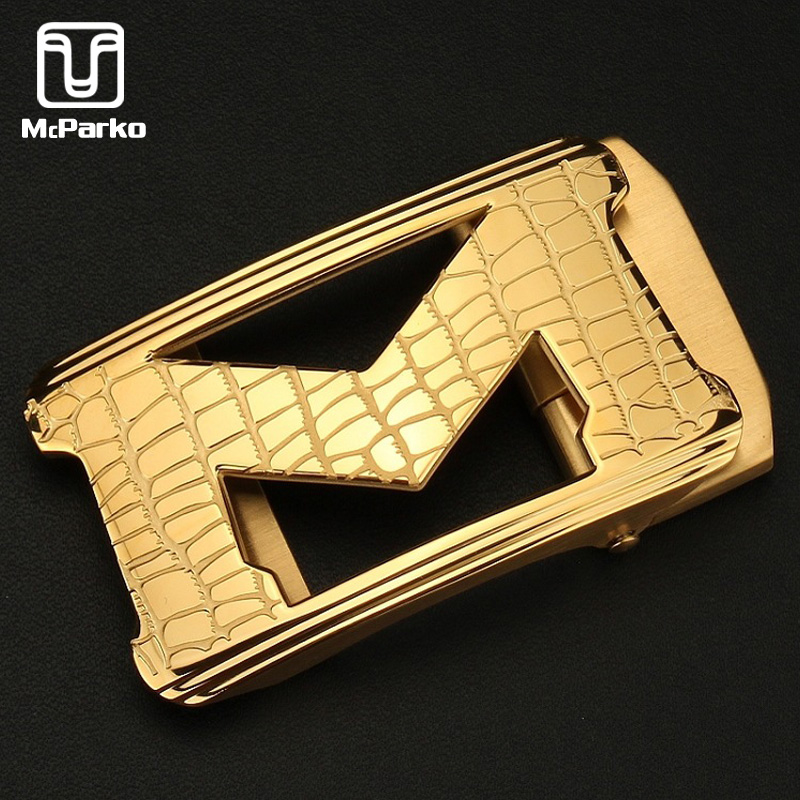 McParko Luxury M Belt Buckles Letters Stainless Steel Metal Belt Buckle For Men Fashion Brand Belt Buckle Automatic Cowboy 35mm