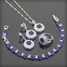 Zafiro Azul redondo Blanco Topaz 925 Pendientes de Plata de La Joyería/Colgante/Collar/Anillo/Pulsera Para mujeres Caja de Regalo Libre