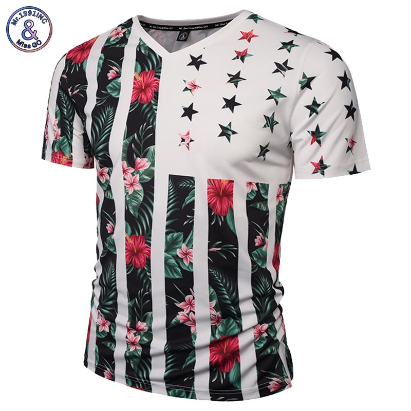 Mr.1991INC USA Flag Flowers   T  -  shirt   Men/Women Fashion Brand Tshirt Print Skulls Trees V-neck Summer   T     shirt   Tops Tees