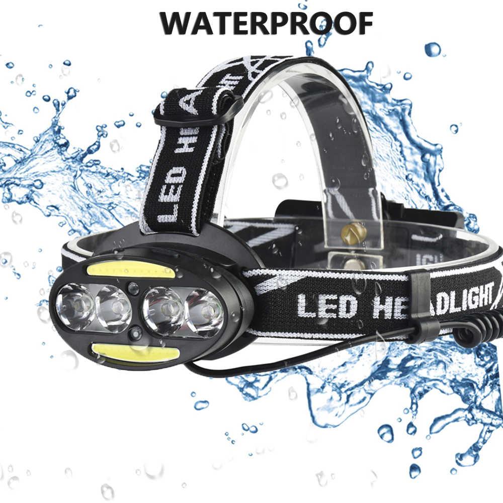 Phare Super puissant phare 4 * XM-L T6 + 2 * cob + 2 * rouge LED lampe frontale lampe torche lanterne avec chargeur de piles z91