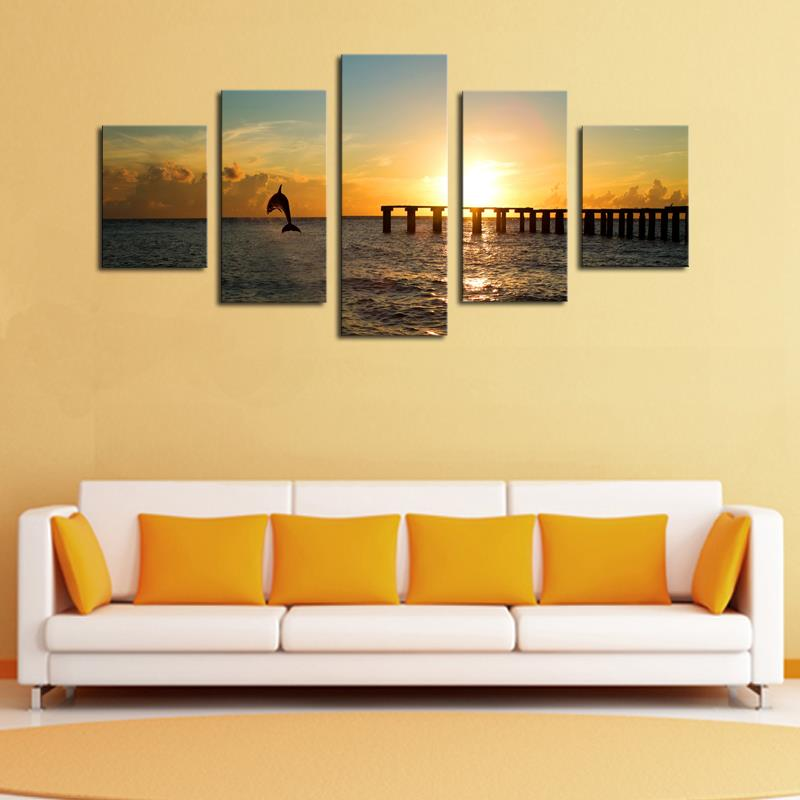 Unframed 5 Panels Sunset Seascape and Dolphins Print Oil Painting ...