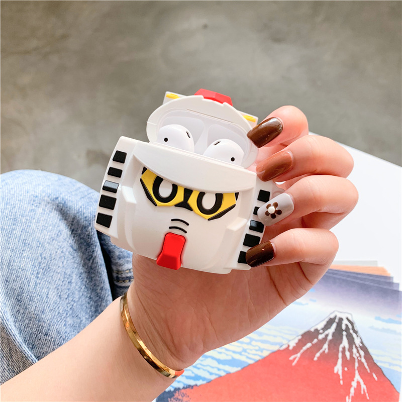 Bluetooth Earphone Case for Airpods Cute Protective Cover for Airpods 2 Accessories with Keychain 3D stereoscopic Gundam Design in Earphone Accessories from Consumer Electronics