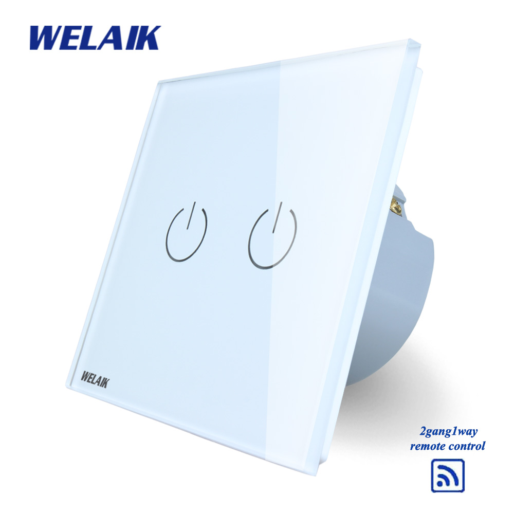 WELAIK  Glass Panel Switch White Wall Switch EU remote control Touch Switch Screen Light Switch 2gang1way AC110~250V A1923W/B wall light touch switch 2 gang 2 way wireless remote control power light touch switch white and black crystal glass panel switch